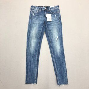 NWT Zara Blue Skinny Mid Rise Distress Denim Jeans